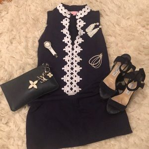 Lilly Pulitzer Navy Dress with White Detailing